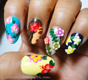 Went for a whole Hawaiian floral theme http://justtisems.blogspot.com/2012/09/nails-done-lei-you-down.html Base colors were the only polishes I used.  Not including top or base coats.  The rest was acrylic paints.