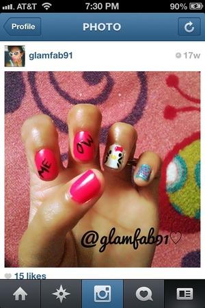DIY hello kitty nail art