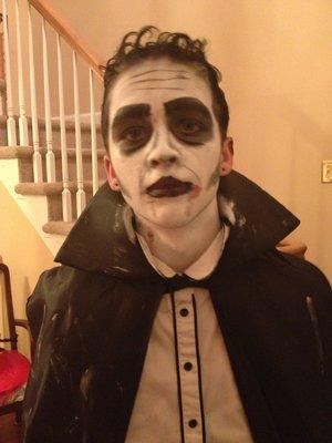 super heavy dramatic vampire makeup on my friend john for halloween lol
