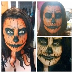creepy pumpkin face painting...