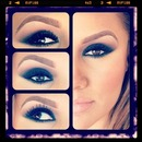 Navy Blue Smokey Eye And Nude Lip