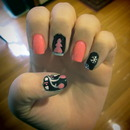 Pink and Black Christmas Nails