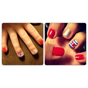 Twin Fourth of July nails! #essie #fourthofjuly #likemotherlikedaughter