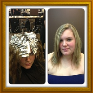Safes way to go blonde using Aveda enlighter and 20 volume