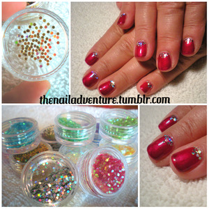 I love round glitter, but I could only find large round glitter until the Born Pretty Store came along.  The Set Includes:  12 different colors and 2 finishes of mini round glitter  Review:  Package arrived safely and neatly packaged. Some glitter did escape out of the containers. I used to glitter with both polish and gel. In both cases the glitter did not bleed.   There is a large variety of colors included in the set, but the only thing that is odd is that   3 out of the 12 were holographic in nature 2 out of the 12 were totally opaque and iridescent  7 were semi translucent and iridescent.  It would be nice if they were all the same, as in being all holographic or all iridescent as while as being all opaque.  Despite them not being all the same, the glitters are super cute. Both clients I used the glitters on thought they were adorable.  I would rate these glitters a 8.5/10 due to non continuity of the finishes of the glitters, but they are fun and relatively easy to work with.  You can purchase the mini round glitter set from the glitter store with my 10% off coupon code GTBK31 at the BornPrettyStore.  http://www.bornprettystore.com/color-nail-mini-round-shiny-glitter-powder-sheets-tips-tool-manicure-p-4625.html