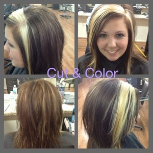 Lightened sections plus fine HL through back of the head & all over color using TiGi color line.