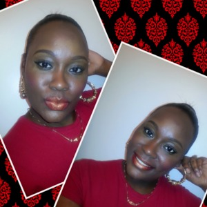 Here I did a simple winged eye, and I used Mac's Ruby Woo and Kaoir Golden Goddess for my lips