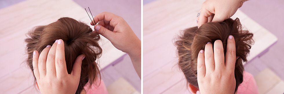 How To Do A Sock Bun - Secure Hair With Bobby Pins