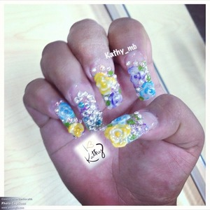 Colorful encapsulated nails with color 3d flowers