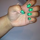 Green and black pattern nails