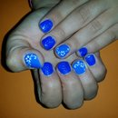 Blue Nails/Glitter Nails/Nails/Flower/Nail Art
