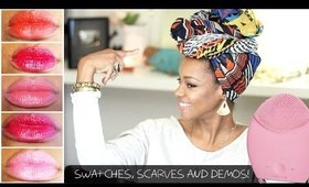♥Scarf Tutorial, Lippie Swatches and Luna Mini Demo!♥
