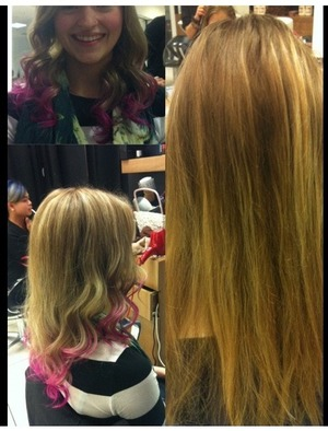 A Client i did From old grown out highlights to fresh highlights  with pink dipped ends