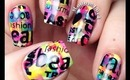 Colorful nails with nail art stamping