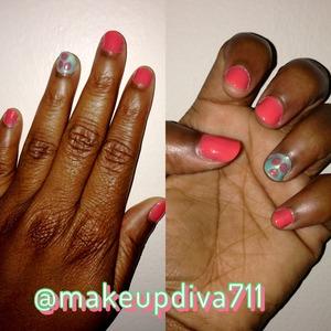 #manicure #nailart #donebyme #coral #turquoise #turquoisegreen #random #boredom 💅💅💅 #naturalnails