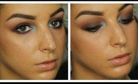 Aqua Pop Warm Brown Smokey Eyes Makeup Tutorial ♥