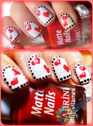 Gabrini matte nails #388 (white) & #390 (red)