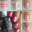 Pink and Silver Stripes Nail Tutorial