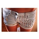 studded light-wash shorts