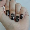 Black And Gold Glitter Nail Art!
