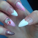 Pink heart stiletto tips glitter & diamonds