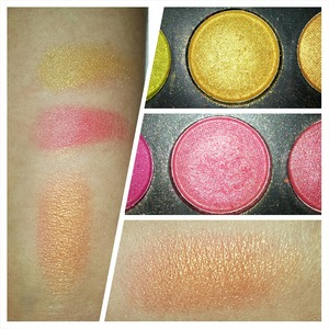 This gold and pink color are from the 120 palette. Mixed together they turn into a beautiful rose gold <3