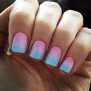 combination blue and pink nails❤