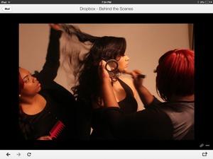 Me on makeup... Behind the scenes of a photo shoot ... Lauren Love on hair.. Model Lilian Salas