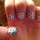polka dots with blue