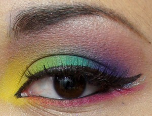 Rainbow look I did for a 80's themed party.