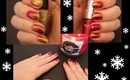 Festive Red and Gold Holiday Nail Art Tutorial