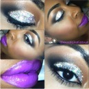 Silver glitter with purple lips