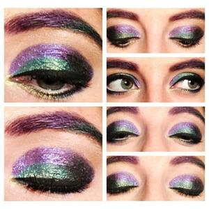 Purple green and black