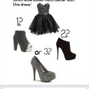 Which shoe would match better with this dress?