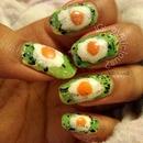 Glittery fried eggs on a glitter jelly base ^_^