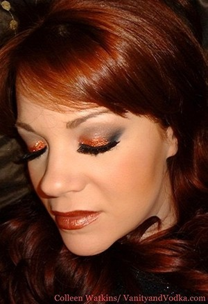 Glittery look using copper glitter and some Elise lashes. More info at Vanityandvodka.com :-)  Hope you are having a beautiful day!
