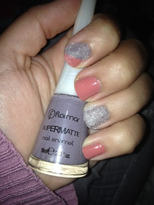 Grey velvet and pink polish