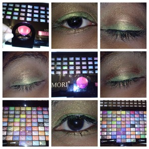 I applied the makeup dry and wet,I got this pallet from the secret santa gift exchange and I love this pallet.Sadly I found out the pallet is from China and the country requires animal testing.I won't be using this on vegan customers.I used the green and browns with white as highlighter under the brows.
