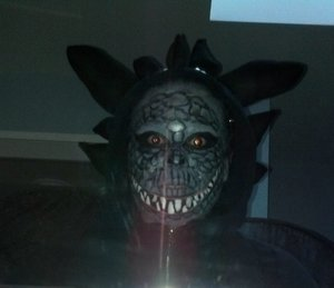 Gray Dragon created using Mehron paradise palette, black eyeliner and random eyeshadows