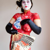 Chinese red dress body painting