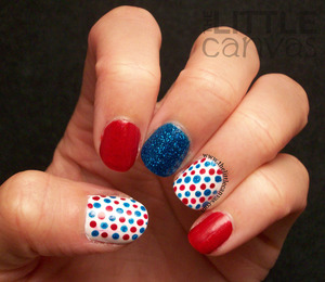 Used Zoya Liberty and Sally Hansen Red Carpet - http://www.thelittlecanvas.com/2013/07/happy-fourth-of-july.html