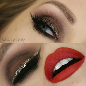 "Motives cosmetics ""my beauty weapon"" palette. Eylure lashes, Anastasia Beverly Hills for brows. Lips: oriflame lip liner and elf cosmetics lip stain ""red carpet""."