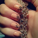 Nude nailwear with golden glitters :)
