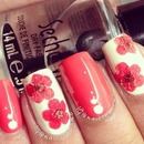 Cute red nails with real flowers