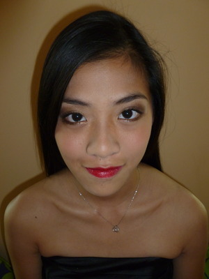 your basic brown smokey eye and red lip
