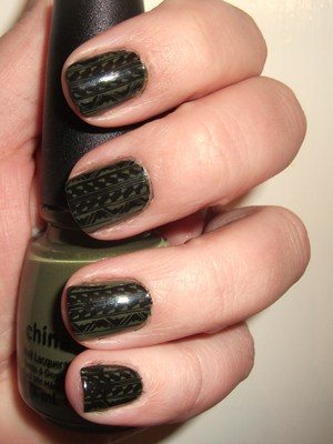 Green tribal print nails. A little messy but I still like em! :)