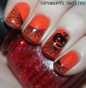 Pumpkin & Spiderwebs Mani  http://samariums-swatches.blogspot.com/2011/10/spider-webs-pumpkins.html