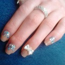 Neutral Nail Colour With Rhinestones, Glitter And 3D Bow
