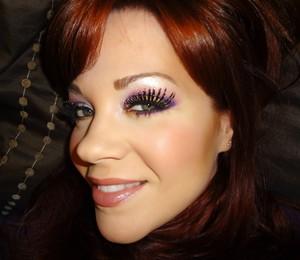 Mardi Gras inspired look using Sugarpill Cosmetics (Poison Plum pressed shadow/ Goldilux loose shadow/ Baby Dewdrop lashes)