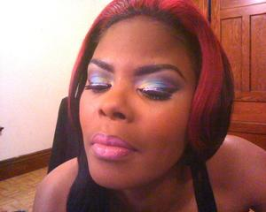 kaleidoscopic Eyes with Viva Glam Nicki Lipstick..